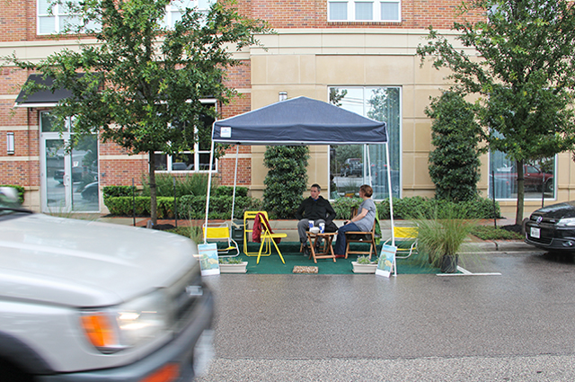 Justin Smith and Mary Beth Woiccak at PARK(ing) Day. Photo: Allyn West.