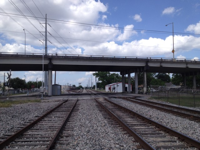 Union Pacific Railroad tracks and Navigation Boulevard overpass. Photo: Allyn West.