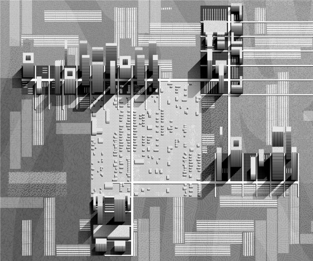 Pope has imagined futures for Fifth Ward in which high-density developments relate to one another to shape shared spaces. Projection drawing: Tsvetelina Zoraveva.