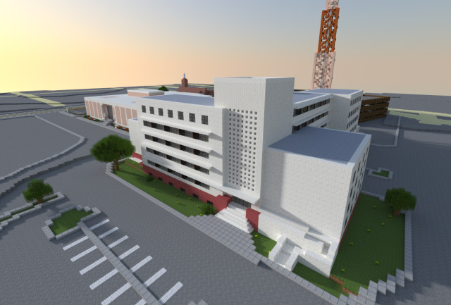 Courthouse, Police and Jail Complex on Riesner Street. Rendering by Jp Dowling in Minecraft.
