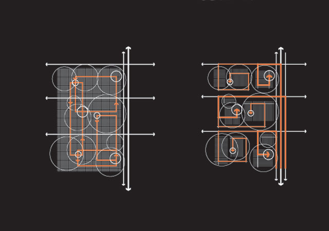 Grids (left) allow more paths connecting destinations than spines (right). Diagram: Albert Pope.