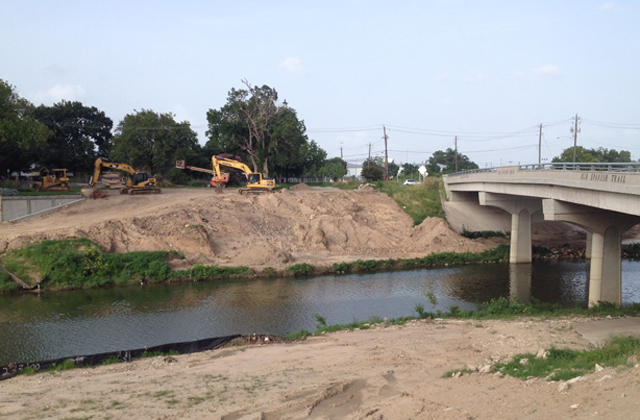 Excavators at work on Brays Bayou Hike and Bike Trail. Photos: Allyn West.