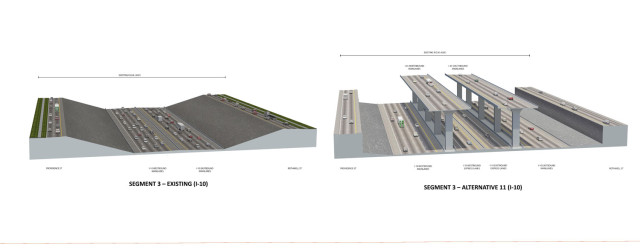 Renderings of existing and proposed sections of I-10 through Downtown. Click on an image to view them all as a slideshow. Source: TxDOT.