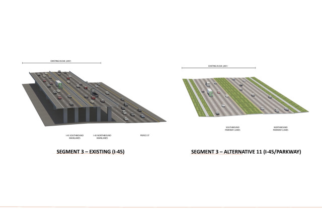 Renderings of existing and proposed sections of I-45 through Downtown. Source: TxDOT.