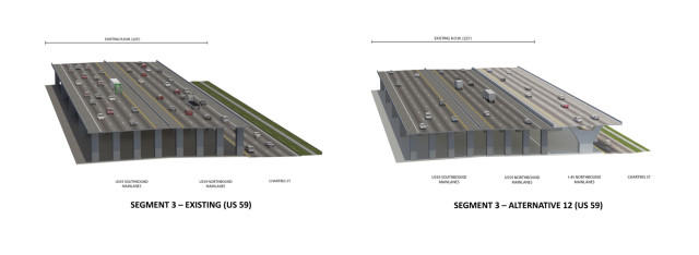 Renderings of existing and proposed sections of I-59 through Downtown. Source: TxDOT.