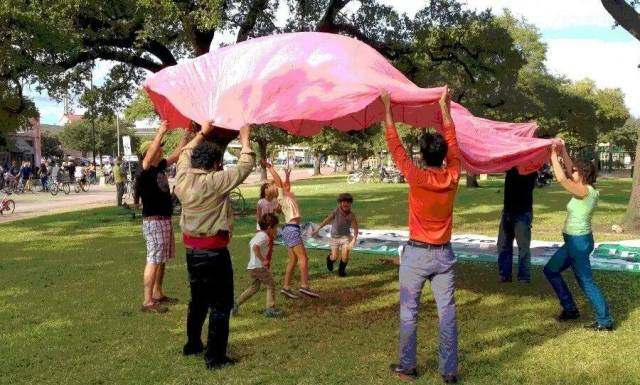 Pink Parachute Project at Peggy Park. Photo: Theresa Keefe.