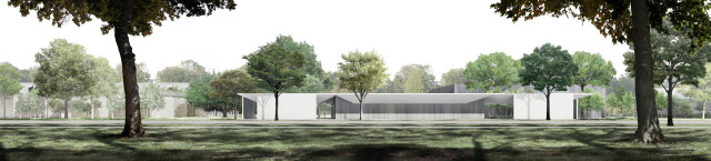 Menil Drawing Institute south elevation. Courtesy Menil Foundation.