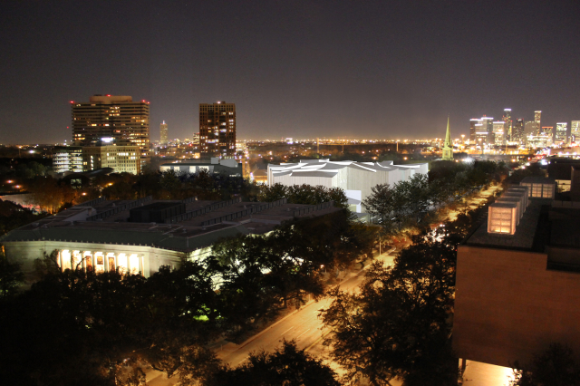 Night view of Kinder Building and MFAH Sarofim campus from south. Courtesy MFAH.