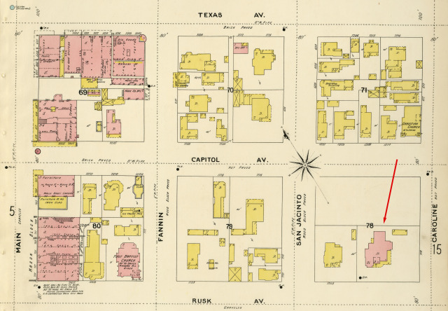 1896 Sanborn fire insurance map with original location of Waldo Mansion. Courtesy: Dolph Briscoe Center for American History, University of Texas at Austin.