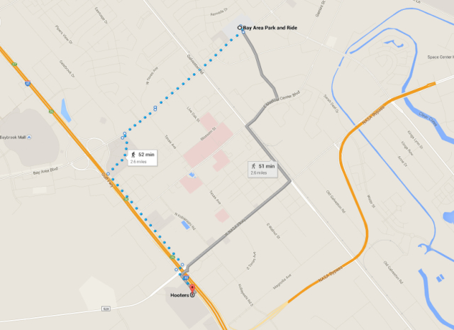 Route of two-and-a-half mile walk between commuter buses.