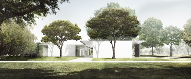The Menil Drawing Institute, West Facade as seen from the Energy House