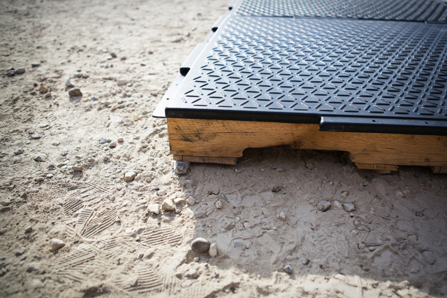 Emergency Floor on shipping pallet subfloor.