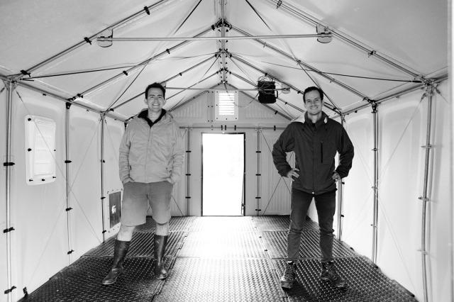 Scott Key and Sam Brisendine in shelter using Emergency Floor. Images: Good Works Studio.