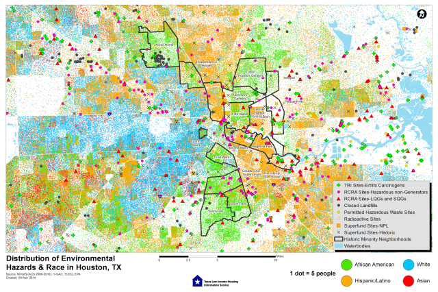 Distribution of Environmental Hazards and Race in Houston. Source: Texas Low Income Housing Information Service