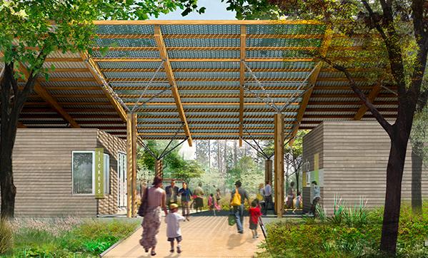 Entrance to proposed Houston Arboretum Visitor Center with a vista of restored Gulf Coast prairie. Houston Arboretum.