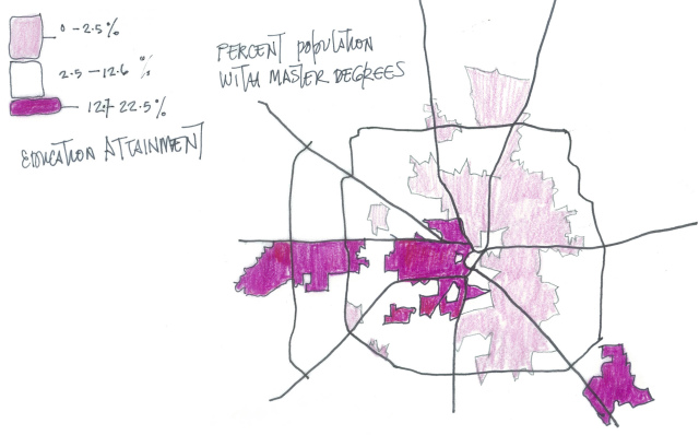 Map showing percent population with master's degrees. Drawing: Nicola Springer.