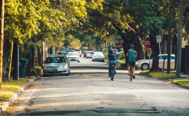 The author bikes through Montrose. Photo by Adam Socki.