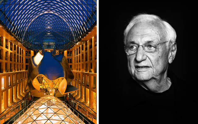 Left: interior of DZ Bank Building in Berlin, photo by Roland Halbe.   Right: Frank Gehry, photo by Atelier Courbet.