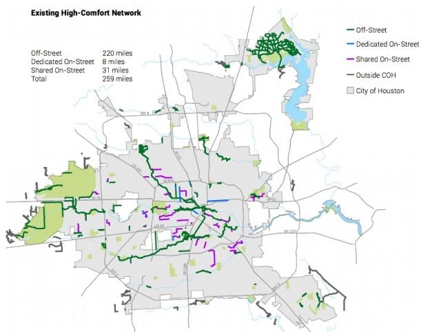 Existing high-comfort bike routes. Source: Houston Bike Plan.