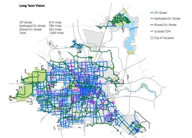 Long Term Vision. Source: Houston BIke Plan.