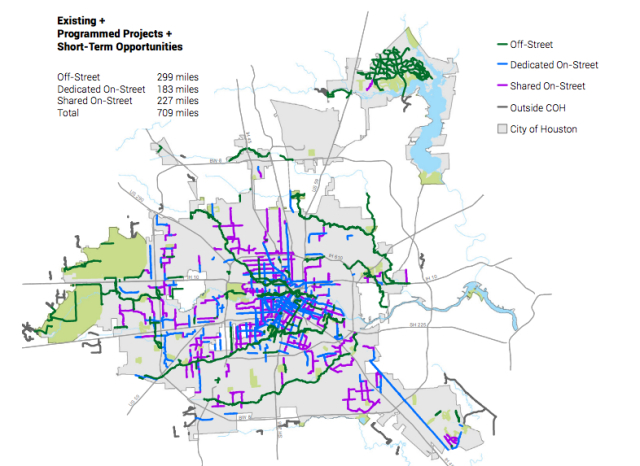Existing and programmed routes plus short-term opportunities. Source: Houston BIke Plan.