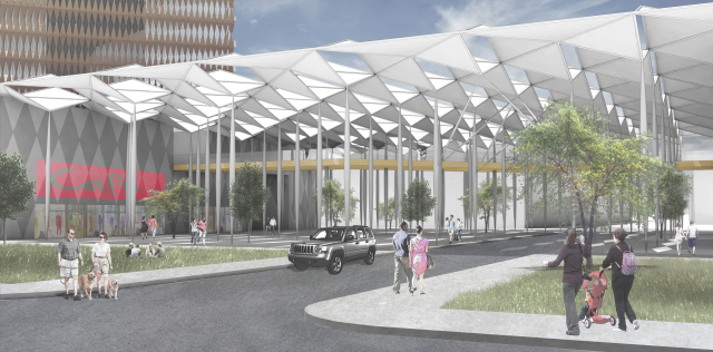 Users would enter from West Dallas at this large civic plaza. Courtesy: Gensler.