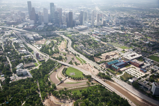 Aerial photo of Buffalo Bayou Park and Downtown Houston. Photo: Alex MacLean.