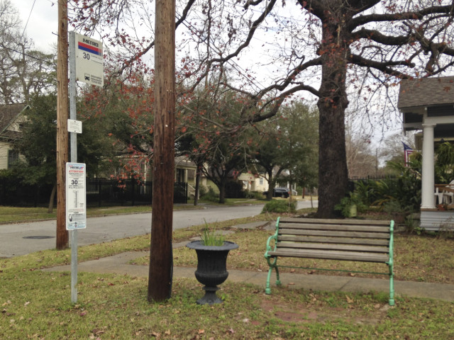 Bus stop on Watson Street in Woodland Heights. Photo: Allyn West.