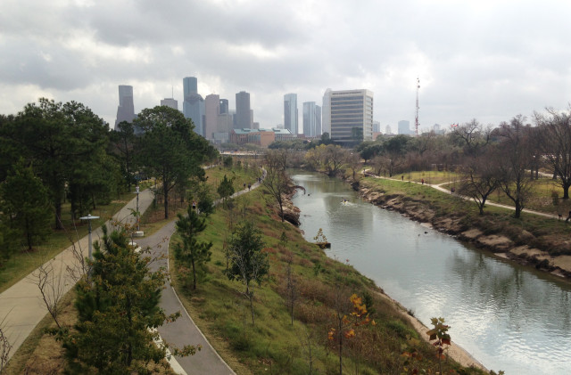 View of Downtown across Buffalo Bayou looking east. Photo: Allyn West.