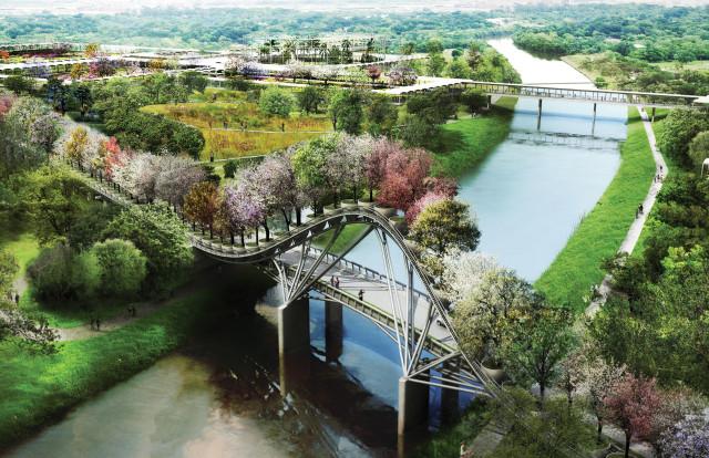Rendering of entry bridge. Courtesy: West 8 and Houston Botanic Garden.