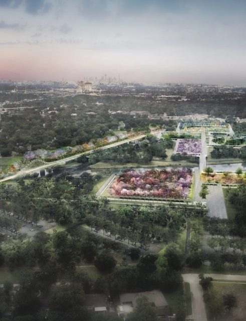 Bird's eye rendering of Houston Botanic Garden at Glenbrook site. From master plan.