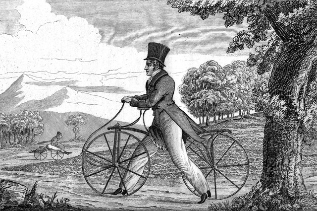 The draisine, named for its inventor, Baron Karl von Drais of Mannheim, Germany, was propelled by the feet pushing off the ground. This copper etching, which appeared in the June 1819 issue of the Analectic Magazine in Philadelphia, was based on a color print in the February 1819 issue of the British publication Ackermann's Repository of Arts. Courtesy photo.