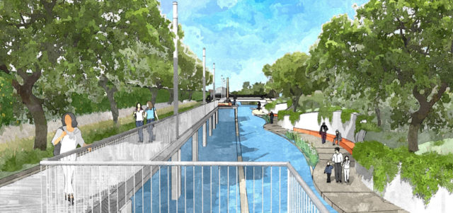 Rendering of San Pedro Creek improvements at Camp Street, just west of Ruby City. Courtesy: San Pedro Creek Improvements Project.
