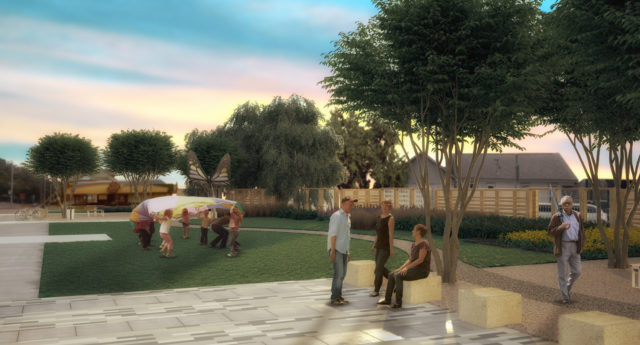 Rendering of pocket park by Open Architecture Houston team and Near Northside community members. Courtesy.