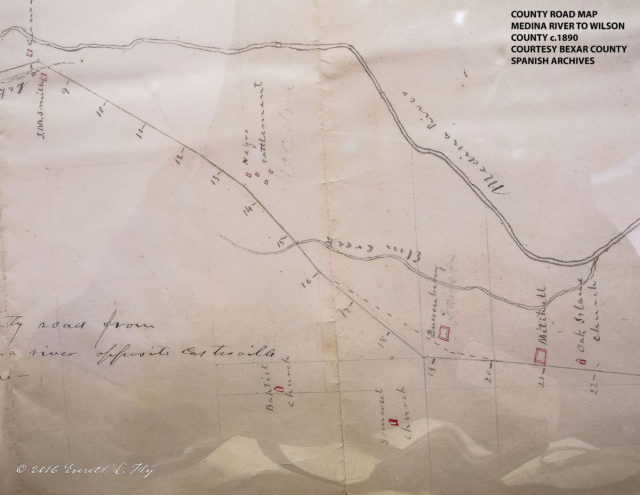 "Bexar County, Texas road map, c.1890, identifying ""Negro settlement"" and ""Baptist church."" Photo: Everett L. Fly."