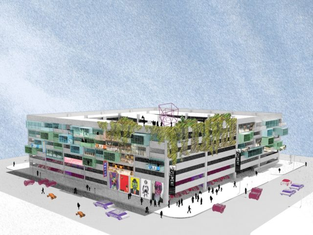 Concept for the adaptive reuse of parking garage. Rendering: SWA Group.